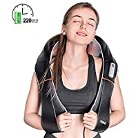 RENPHO Electric Rechargeable Shiatsu Shoulder Neck and Back Massager Powerful 3D Rolling Ball Cordless Deep Tissue Kneading Massage Foot Leg Lower Back Thigh and Muscles