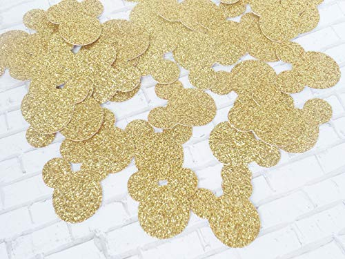 Mickey Mouse Gold Glitter Paper Party Confetti Decoration 1 inch 300 Pieces]()