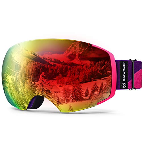 OutdoorMaster Ski Goggles PRO - Frameless, Interchangeable Lens 100% UV400 Protection Snow Goggles for Men & Women (Pink-Purple Frame VLT 15% Red Lens and Free Protective Case)