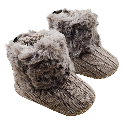 Baby Soft Sole Snow Crib Shoes Toddler Boots Brown - 7
