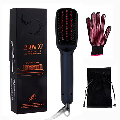 Hair Straightener Brush, YUMEITECH Ionic MCH Ceramic Heating Hair Straightener Comb with Heat Resistant Gloves, LED Display Adjustable Temperatures Anti Scald Anti Frizz Portable Hot Air Brush (Black) by YUMEITECH (Image #4)