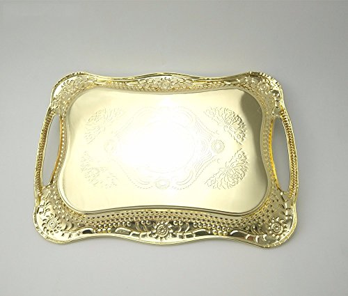 Eaglood 30X20CM/36X25CM Stainstainless Steel Golden Dish Plate/Metal Serving Tray Delicate Ss Plate/Tableware Metal Plate/Fruit Plate golden 43x29 by Eaglood (Image #1)