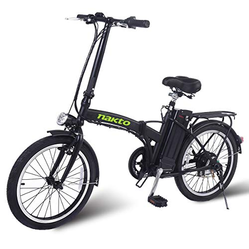 NAKTO 20″ 250W Foldaway Electric Bike Sport Mountain Bicycle with Lithium Battery