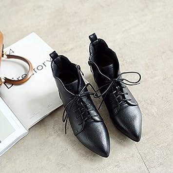 Shukun Botines Las botas Martin de tacón bajo de encaje femeninas en otoño e invierno son