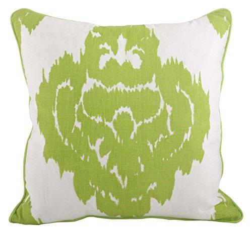 (SARO LIFESTYLE 955 Odessa Collection Printed Damask Design Down Filled Throw Pillow, Lime 18