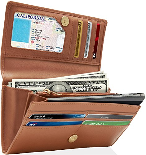 Genuine Leather Wallet For Womens - Ladies RFID Wallets For Women With Removable Checkbook Holder