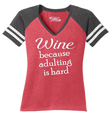 Comical Shirt Ladies Wine Because Adulting is Hard Game V-Neck Tee