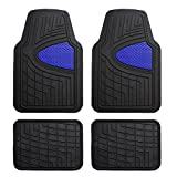FH Group F11311BLUE Rubber Floor Mat(Heavy Duty Tall Channel, Blue Full Set Trim to Fit)