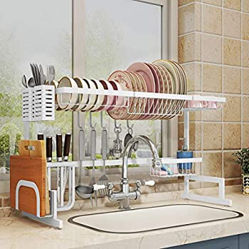 Image of Over Sink(33') Dish Drying Rack, 2 Cutlery Holders Drainer Shelf for Kitchen Supplies Storage Counter Organizer Stainless Steel Display- Kitchen Space Save Must Have (Sink size≤33 1/2 inch, black) Home and Kitchen
