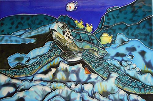Decorative Art Tile - Tile Craft Tropical Turtle Ceramic Art Tile 8 x 12 inches