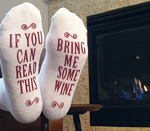 "Luxury Combed Cotton ""Bring Me Some Wine"" Socks – Perfect Hostess or Housewarming Gift Idea, Birthday Present, or Gift For A Wine Lover"
