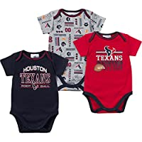 NFL Houston Texans Bodysuit (3 Pack), 12 Months, Navy/Gray/Red