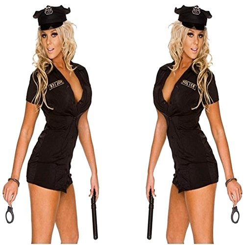 Avide Women's Black Shirt Style Button Uniform Halloween Cop Costumes (Cop Uniform Halloween)