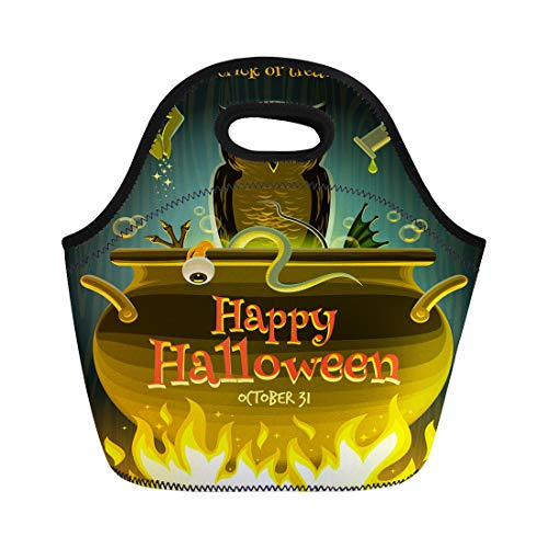 Semtomn Lunch Bags Brew Cooking Halloween Witch Cooks Poison Potion in Cauldron Neoprene Lunch Bag Lunchbox Tote Bag Portable Picnic Bag Cooler Bag]()