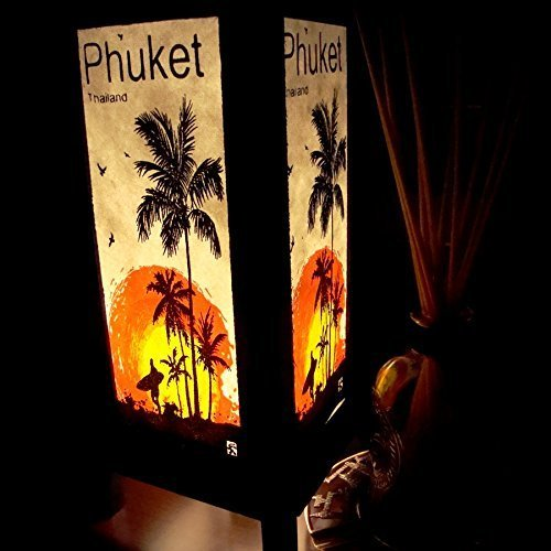 Phuket Island Sun Beach Coconut Handmade Asian Oriental Wood Table Bedside Light Night Lamp Gift Bedroom Garden (Copter Shop)