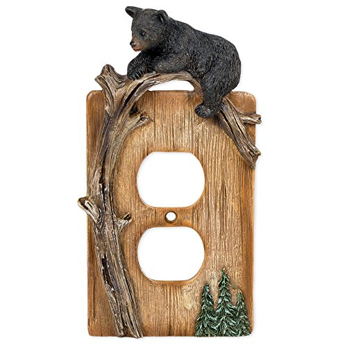 (Bear on Tree Limb Electrical Outlet Resin Cover Plate)