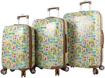 Lily Bloom Hardside Luggage Sets 3 Piece Design Pattern Spinner Suitcase For Woman Beach House