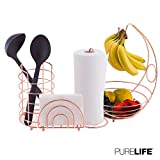Kitchen Set 4pc | Fruit Basket/Banana Holder, Utensil Holder, Napkin Holder & Paper Towel Dispenser - Double Coated Copper Finish Modern Collection for Countertop Table Decor | Heat Resistant Tool