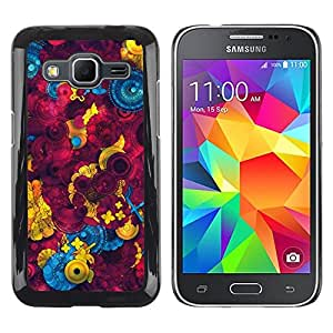 iKiki Tech / Estuche rígido - Sewing Abstract Maroon - Samsung Galaxy Core Prime SM-G360