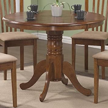 Monarch Specialties Round Pedestal Table 40 Inch Oak