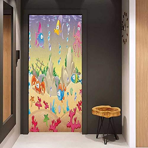 Onefzc Glass Door Sticker Decals Underwater Kids Cartoon Design Funny Sea Animals Fishes Sunken Ship Coral Reef and Bubbles Door Mural Free Sticker W38.5 x H79 Multicolor