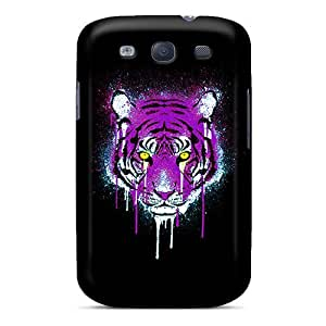 Cute High Quality Galaxy S3 Purple And Gold Tiger Case