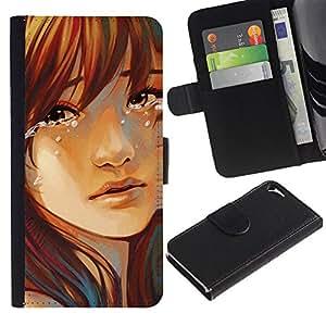 Be Good Phone Accessory // Caso del tirón Billetera de Cuero Titular de la tarjeta Carcasa Funda de Protección para Apple Iphone 5 / 5S // Sad Girl