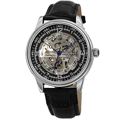 Akribos Xxiv Mens Automatic Watch - Akribos Skeleton Automatic Mechanical Men's Watch - Crocodile Embossed Genuine Leather Strap - Wristwatch See Through Dial -Great for Father's Day - AK1073 (Silver)