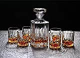 Diy Family Store Whiskey Decanter Set 7 Piece,Decanter 1 Piece of Glasses 6 Pieces,, 100% Crystal Glass Material ,Gift box Packaging.