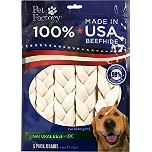 Pet Factory 78701 Beefhide | Dog Chews, 99% Digestive, Rawhides to Keep Dogs Busy While Enjoying, 100% Natural Flavored Braids, Pack of 6 in 7-8″ Size, Made in USA