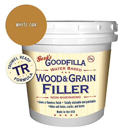 Water-Based Wood & Grain Filler (Trowel Ready) - White Oak - 1 Quart By Goodfilla | Replace Every Filler & Putty | Repairs, Finishes & Patches | Paintable, Stainable, Sandable & Quick Drying