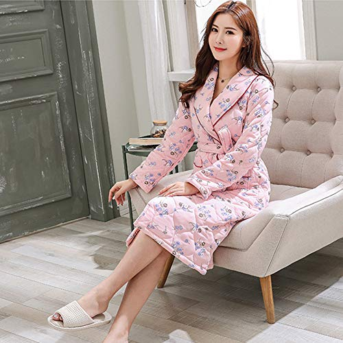 Mujer Hogar Invierno Bata Casa Pink Para Casual Solapa Pijama Loungewear Albornoz Algodón De Ropa qXwaRp4