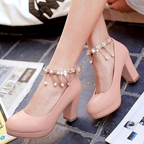 Aisun Womens Beaded Round Toe Buckled Dress Chunky Mid Heels Platform Pumps Shoes With Ankle Strap Pink e92gwbE4o