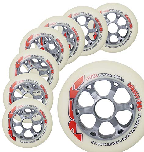 Inline Race Skate Wheels Hyper PGR White 100MM - 8 Wheels - 85A - Speed Skating, Fitness and Outdoor Recreational Wheels (100MM)