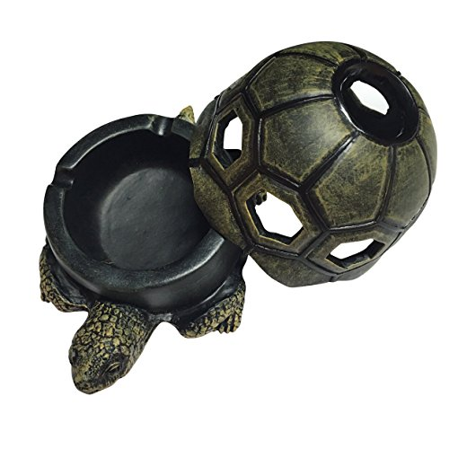 X-D Tortoise Sculptural Desk Cigar Ash Tray LED Candles Holder with Removable Lid for Home Decor