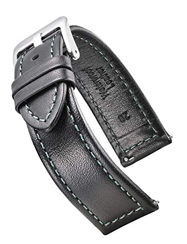 Genuine Waterproof Leather Watch Band with Quick Release Spring Bars - Black Leather Watch Strap 22mm - Green Stitching (Zodiac Watch)