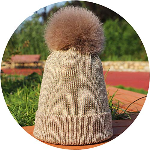 Hats Winter Hat Beanies Fur Fox Fur Skullies Slouchy Cap,Gold ()