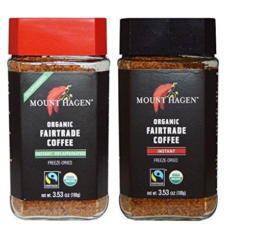 Mount Hagen Organic Freeze Dried Instant Coffee- 3.53 Oz Each ,Variety Pack ,1 Jar Regular + 1 Jar Decaff, (Pack of 2)