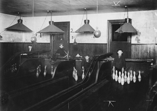 Pin Photo Bowling (1908 child labor photo: Pin-boys in a Pittsburgh Bowling Alley. They work until late at night. Location: Pittsburgh, Pennsylvania. Vintage 8x10 Photograph - Ready to Frame)