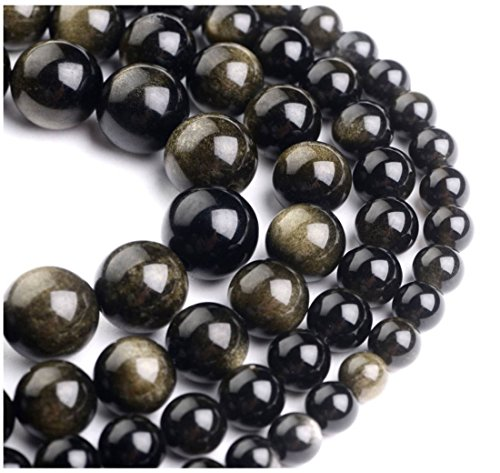 - 2 Strands Top Quality Natural Gold Sheen Obsidian Gemstone 8mm Round Loose Stone Beads for Jewelry Craft Making GY1-8