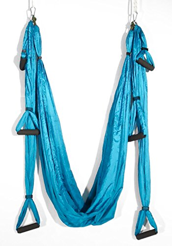 Yoga-Inversion-Swing-Anti-Gravity-Aerial-Trapeze-Flying-Hammock-Sling-Strong-Lightweight-Material-Improves-your-Strength-Balance-Flexibility-and-Endurance-Light-Blue