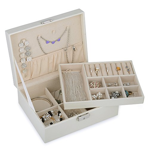 Kendal 2 Trays White Leather Jewelry Box Case Storage Organizer with Lock LJT004WH (2 Leather Case)