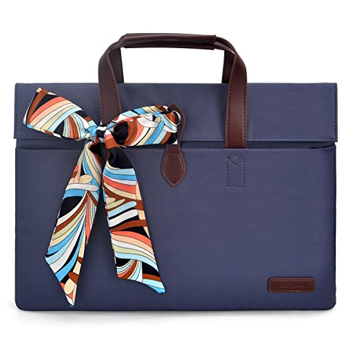 Price comparison product image Fashion Women Handbag Laptop Briefcase Business Office Tote Bag Fabric Portable Handbag for Men Women Sleeve Bag For 12-13.3 inch Laptop Case Macbook Ultrabook Protective Bag For Ladies,  Blue