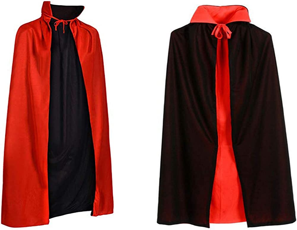 "Child Black 35/"" Hooded Cape Outfit Fancy Dress Costume Halloween Vampiress Kids"
