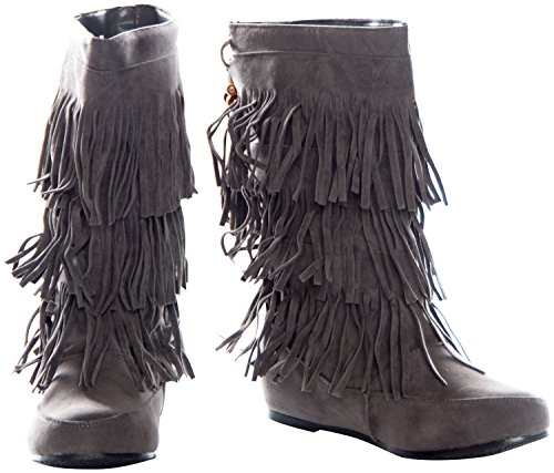 Mid Calf Faux Beaded Moccasin Womens Red Boots Gray Tassle Gray Fringe Camel Black Suede Pink Brown TqxqaYU