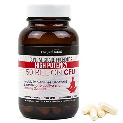 Probiotics, 50 Billion CFU, Digestive, GI Tract, Immune Support, Lactose Intolerance, Vegan Capsules, Acidophilus Probiotic, Bifidobacterium, Lactobacillus Rhamnosus, Lactobacillus Gasseri, Prebiotics