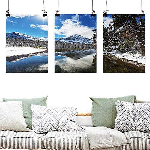 Canvas Prints Wall Decor Art Winter Tranquil View of Glacier National Park in Montana Water Reflection Quiet Peaceful Modern Decorative Artwork 3 Panels 16x31inchx3pcs