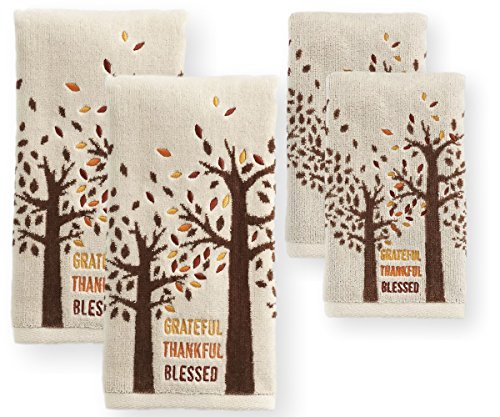 (Thanksgiving Autumn Hand and Fingertip Bath Towels, Set of 4 (Trees - Thankful Grateful Blessed))