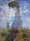 Tile Mural Woman parasol landscape by Claude Monet Kitchen Bathroom Shower Wall Backsplash Splashback 3x4 8'' Ceramic, Glossy
