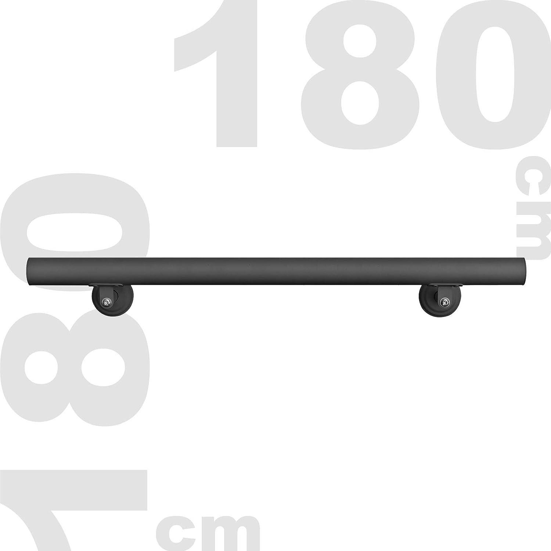 Kit Main courante Rambarde Support mural 140cm Noir Escaliers Poign/ée